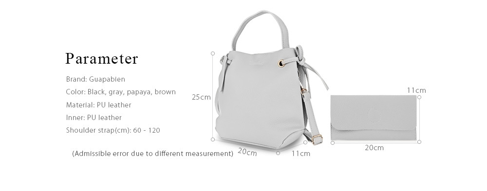 Guapabien Solid Color Women Shoulder Tote Bucket Bag with Clutch Pocket