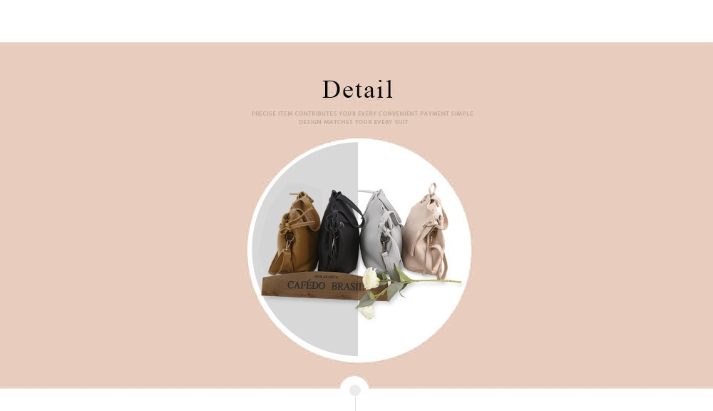 Guapabien Solid Color Women Shoulder Tote Bucket Bag with Clutch Pocket