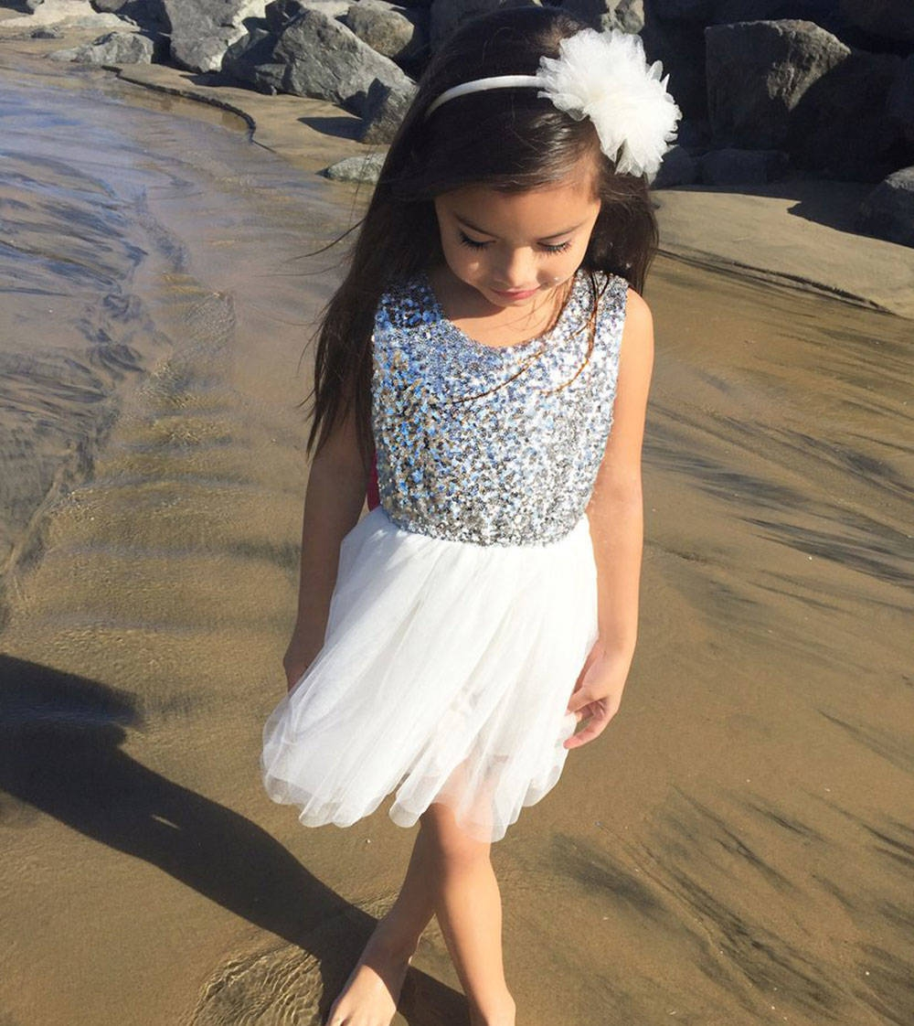 Cute Girls Sequins Lace Jumper Skirt with Bowknot
