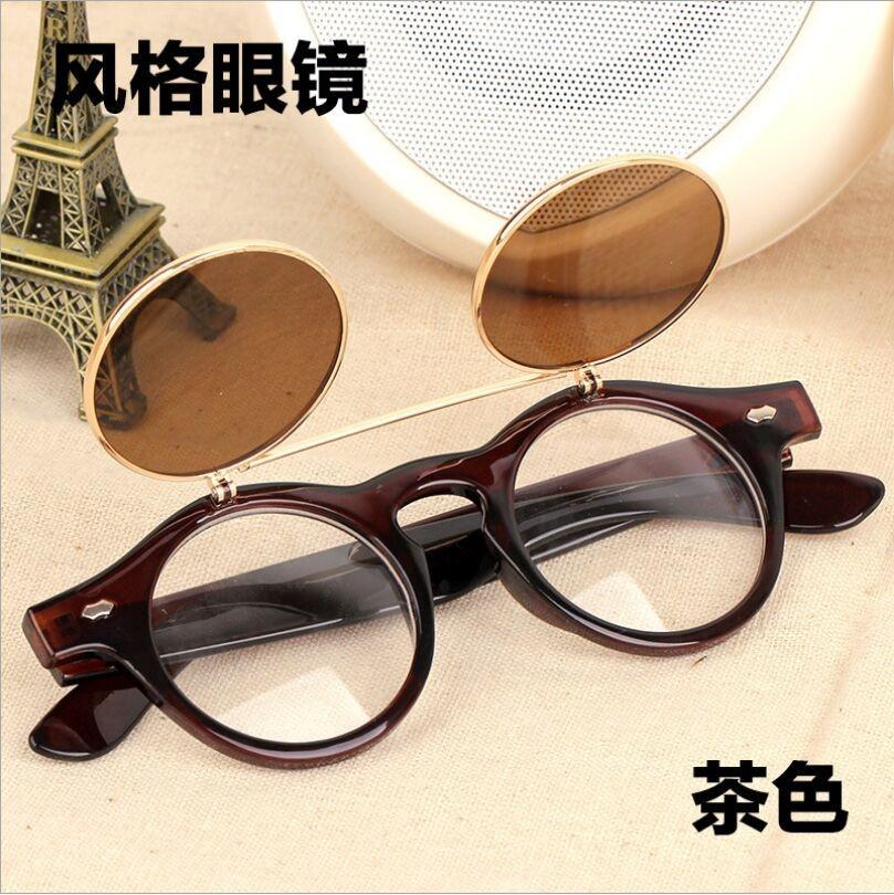 Round Flip Up Vintage Sunglasses Retro Steampunk Glasses Lens Cool Style Fashion