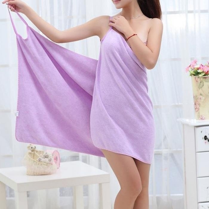 Honana BX-910 Soft Shoulder Straps Lady Wearable Bath Towel Beach Cloth Beach Spa Bathrobes Bath Skirt
