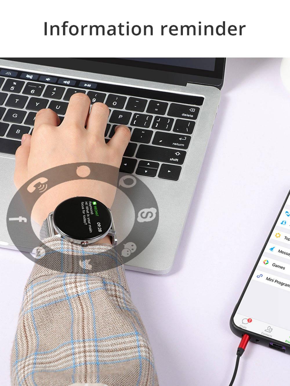 K9 Smart Watch 1.3 Inch IPS Screen Heart Rate Blood Pressure Monitor IP68 Fitness Tracker Smartband - Black