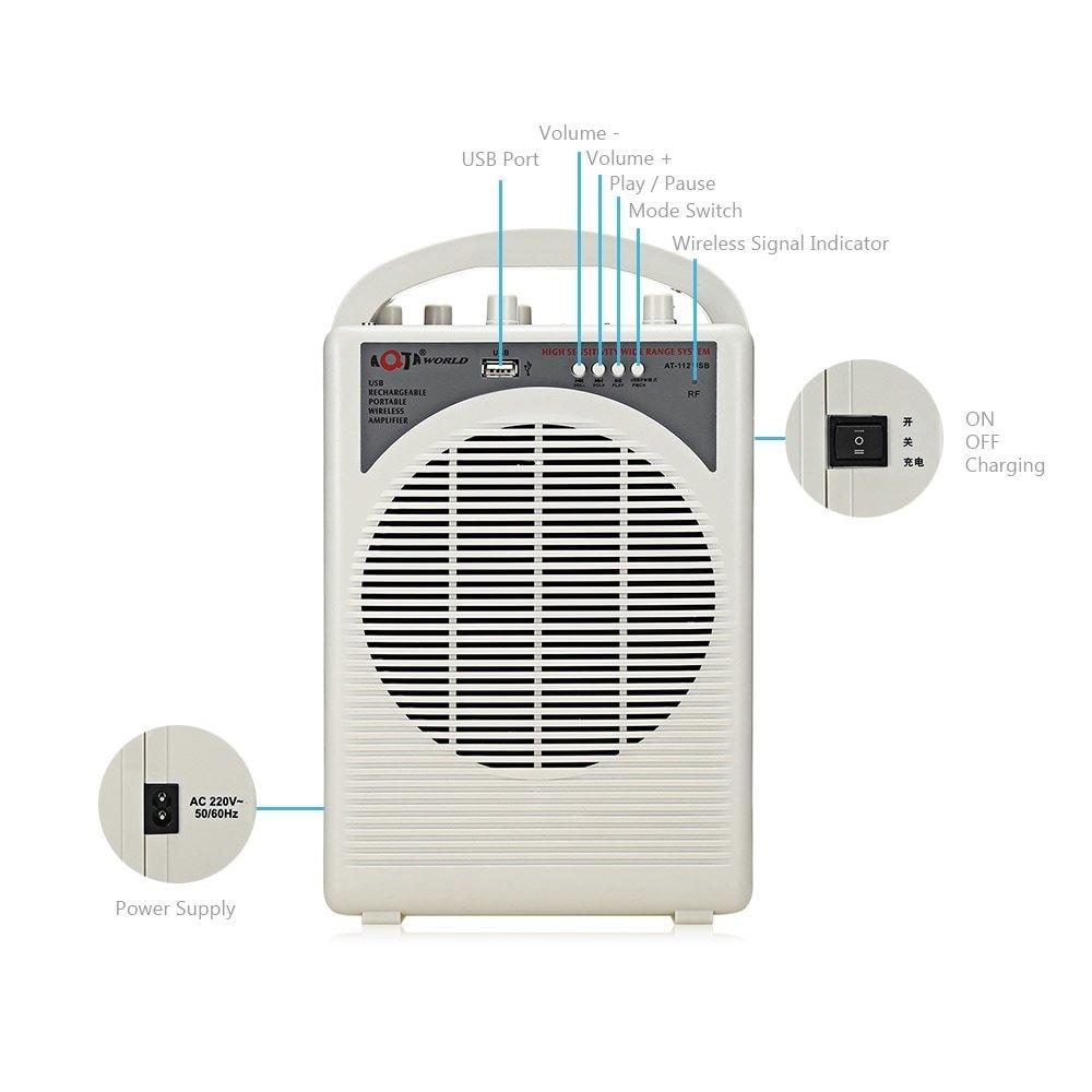 AQTA AT - Microphone à main sans fil avec amplificateur de voix portable 112USB pour fiche professeur, blanc cassé