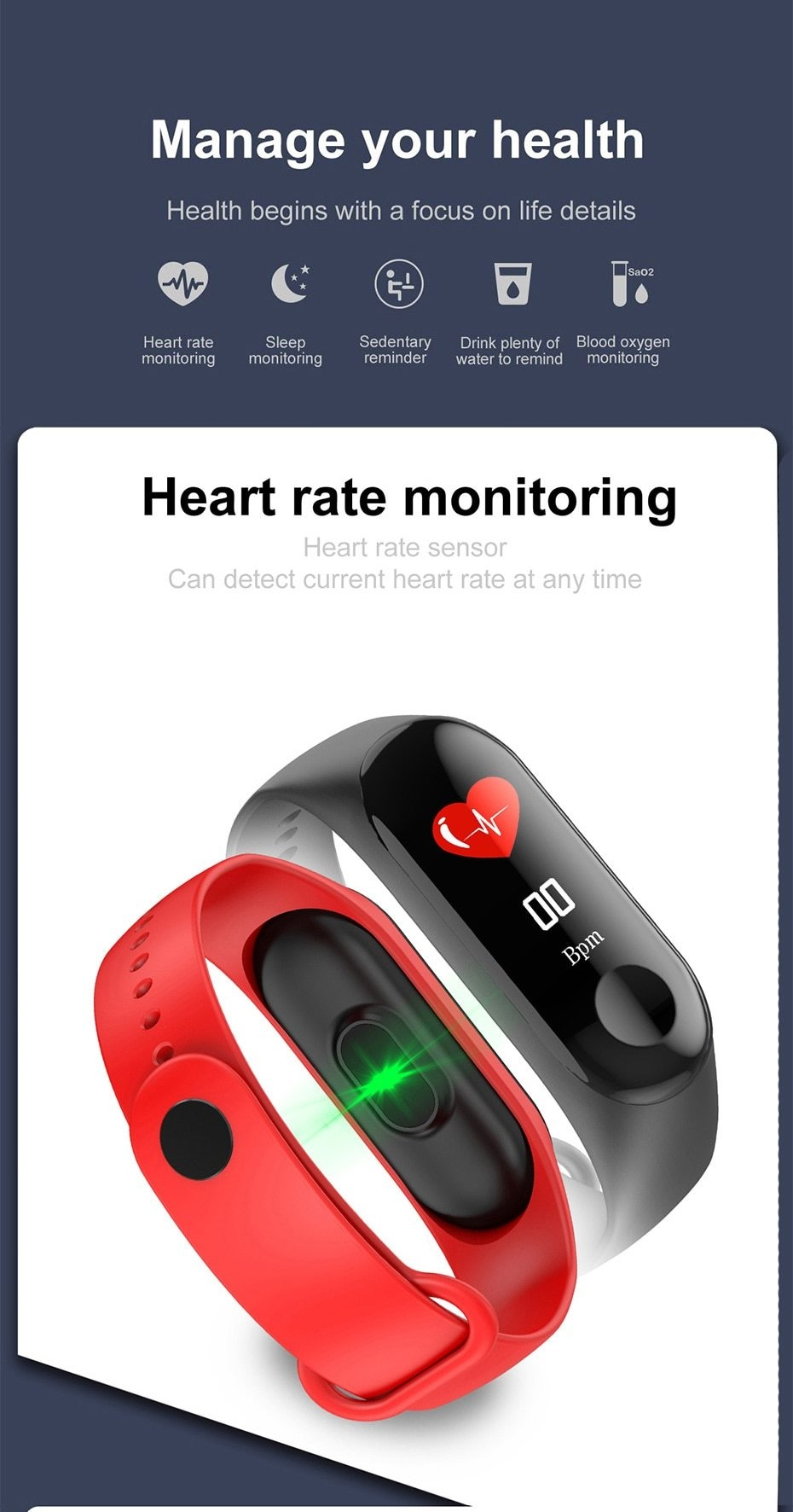 Newest Smart bracelet M3 Sports Blood Pressure Oxygen Heart Rate Monitor Watch Message Caller Smart Band PK For Xiomi mi band 3 (8)