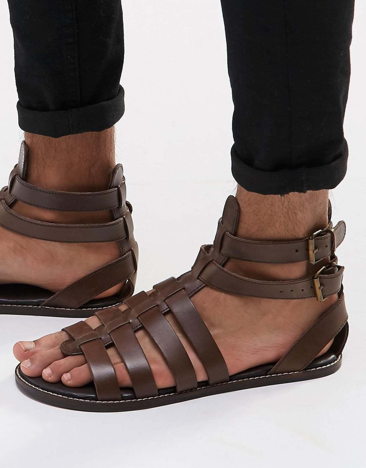 Image result for sandales en cuir homme, à lanières