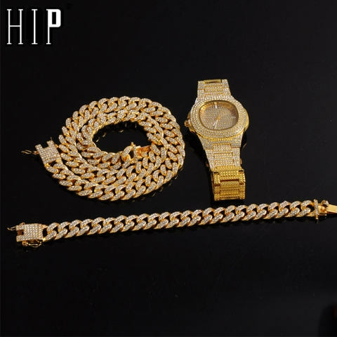 Gold Color Necklace +Watch+Bracelet Hip Hop Miami Curb Cuban Chain Iced Out Paved Rhinestones CZ Bling Rapper For Men Jewelry