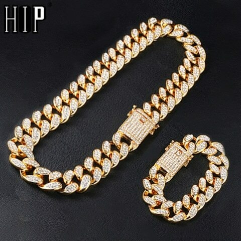 Hip Hop 1Set 20MM Full Heavy Iced Out Paved Rhinestone Miami Curb Cuban Chain CZ Bling Rapper Bracelet Necklaces For Men Jewelry