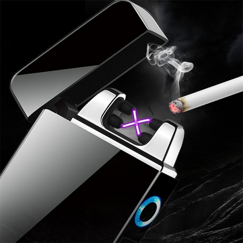 Noir sans Flamme Briquet /électrique /écologique Briquet Temp/ête Coupe-Vent Arc Tournant Portable avec Indicateur de Batterie Rechargeable ROUNYY Briquet de Chargement USB