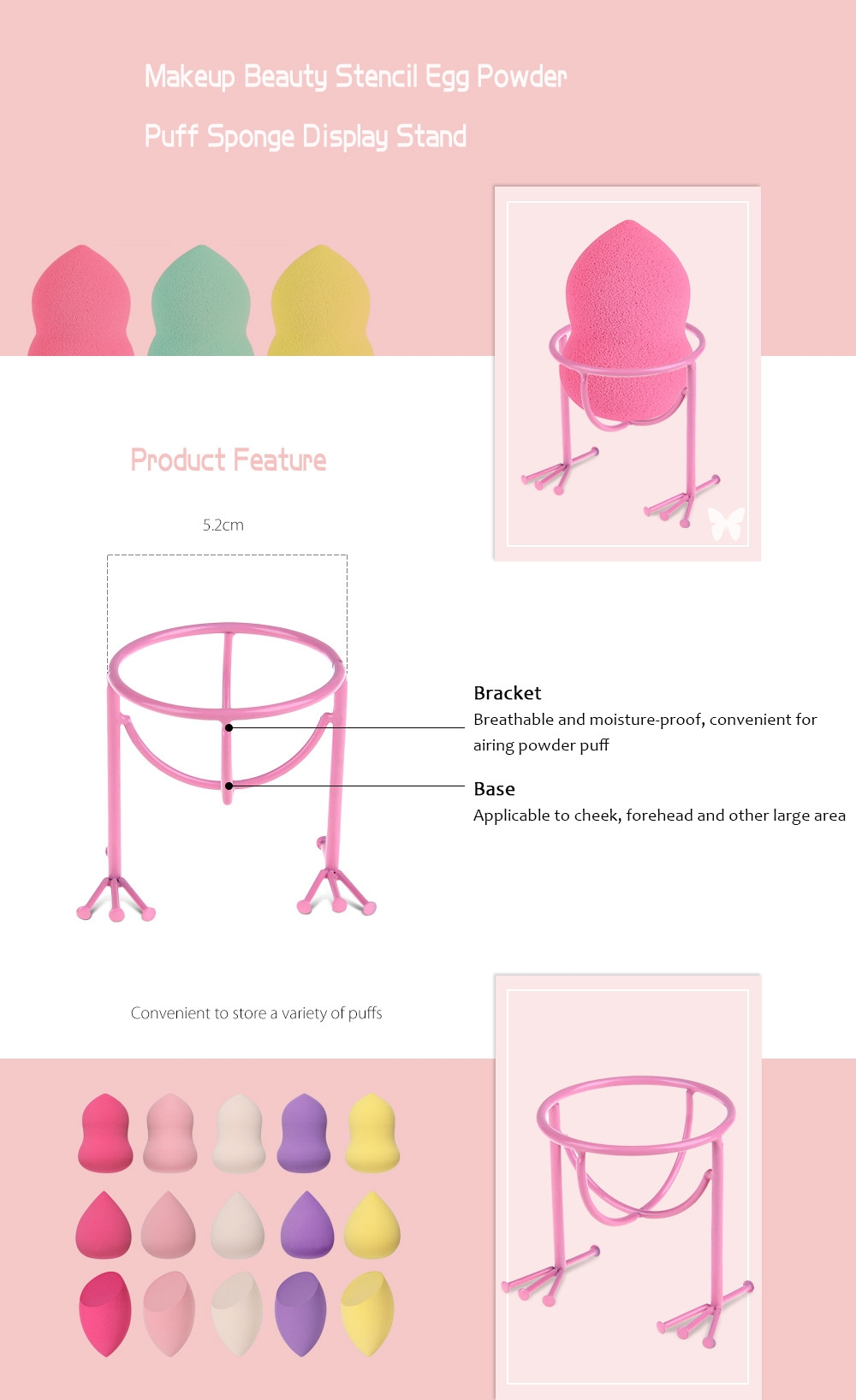 Makeup Beauty Stencil Egg Powder Puff Sponge Display Stand Drying Holder