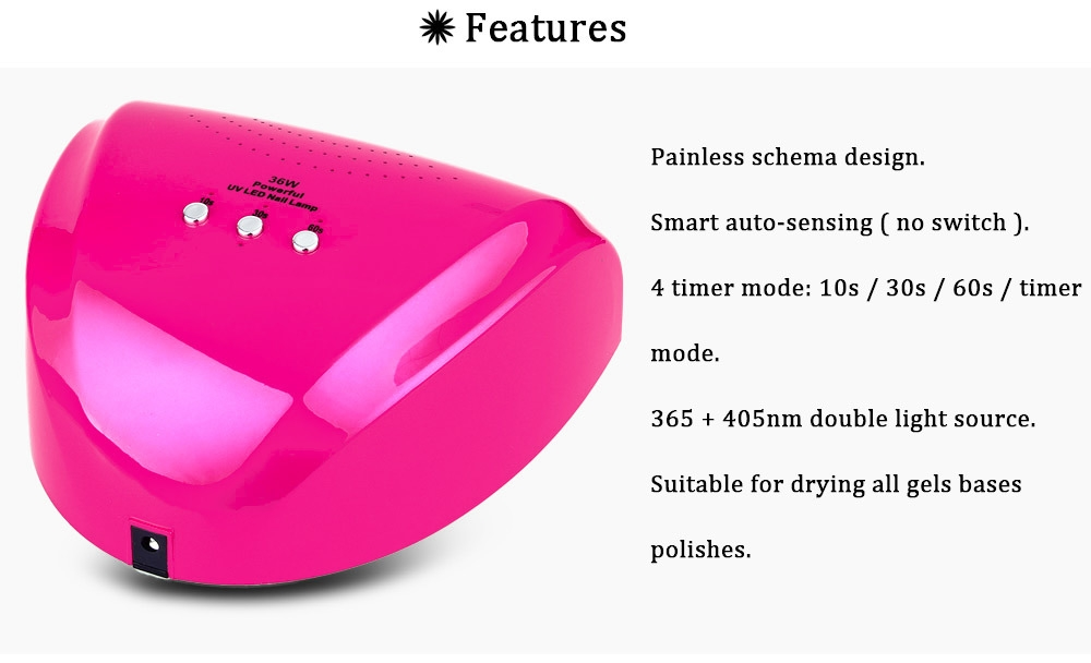 36W LED Manicure Tool Fully Automatic Induction Nail Gel Lamp
