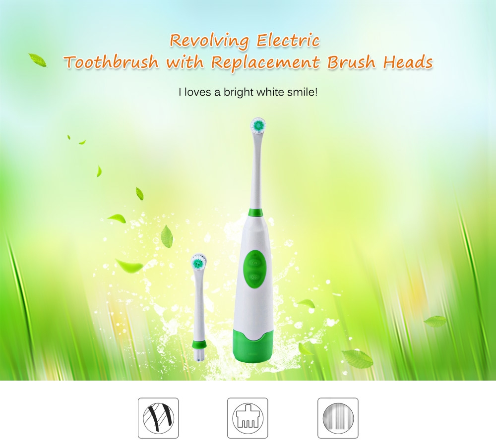 Electric Oral Hygiene Dental Care Toothbrush with 2 Brush Heads