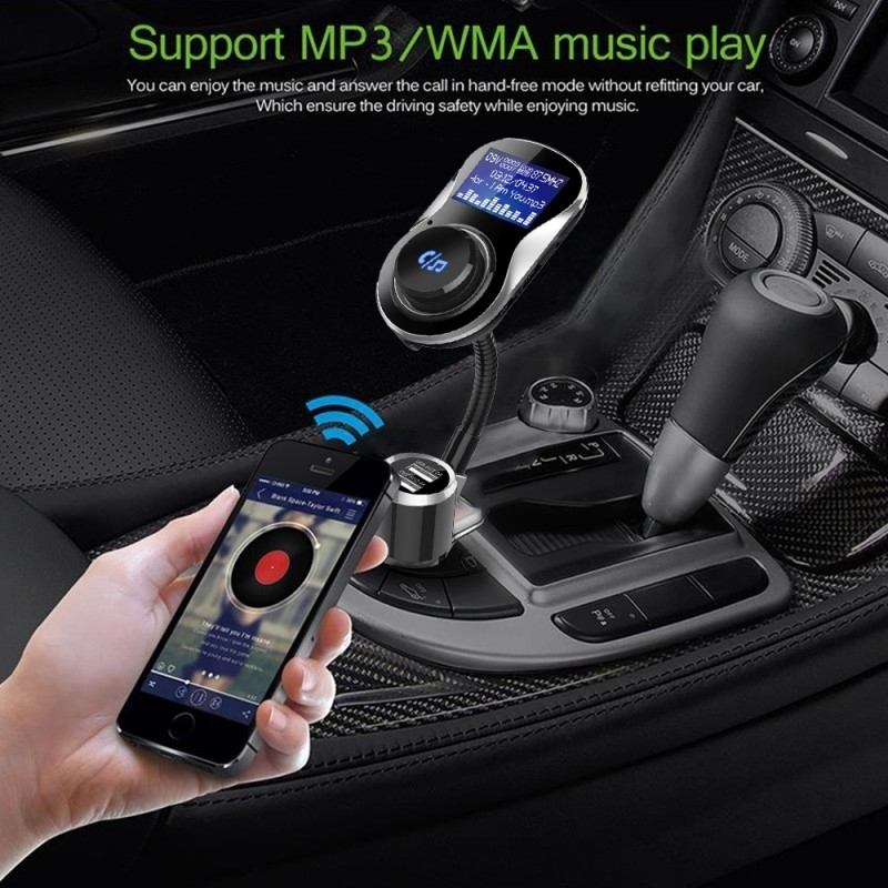 BC26 1.4 inch LCD Screen Car Bluetooth 4.1 + EDR Hands Free Radio FM Transmitter 5V 3.4A Dual USB Ports Car Charger, Support TF Card & Mic & U Disk & Answer / Hang-up / Reject and Redial Calls