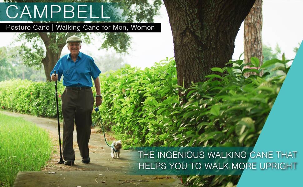 Canne Campbell Posture - Canne de marche pour hommes, femmes - Appareil de mobilité, portable, léger