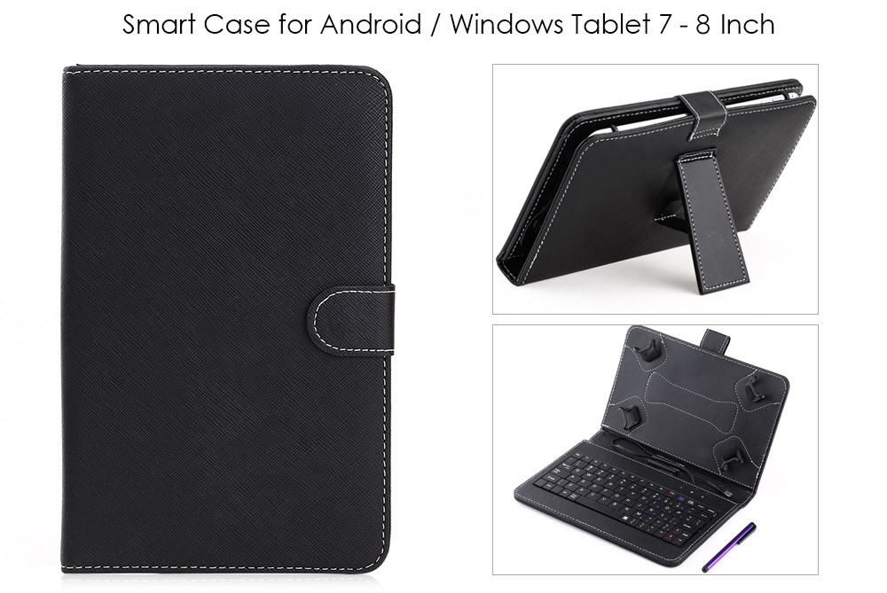 Smart Cover Case with Micro USB Wire Control Keyboard for Android / Windows Tablet 7 Inch