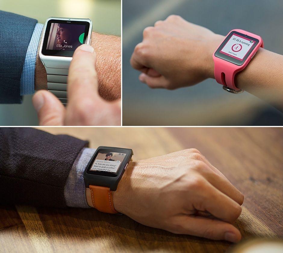 Modèles de SmartWatch 3 en maillons articulés, en rose et en orange.