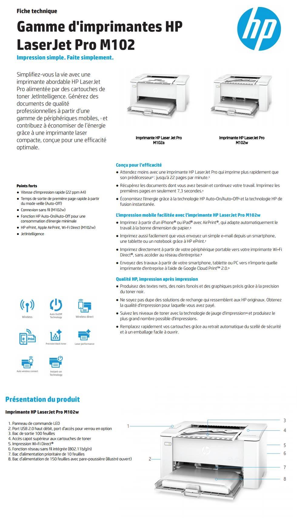 Acheter Imprimante monochrome HP LaserJet Pro M102a (G3Q34A) Maroc