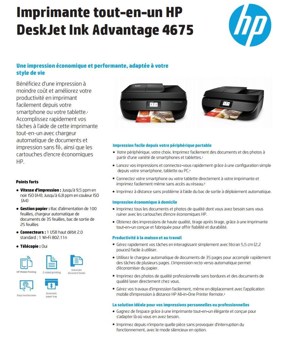 Acheter Imprimante tout-en-un HP DeskJet Ink Advantage 4675 (F1H97C) Maroc