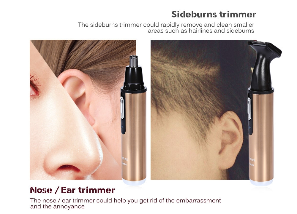 Kemei KM - 6629 2 in 1 Rechargeable Nose Ear Sideburns Cleaner Hair Trimmer
