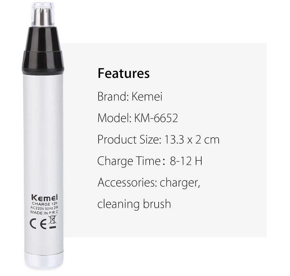 Kemei KM - 6652 Multifunctional Rechargeable Nose Hair Trimmer