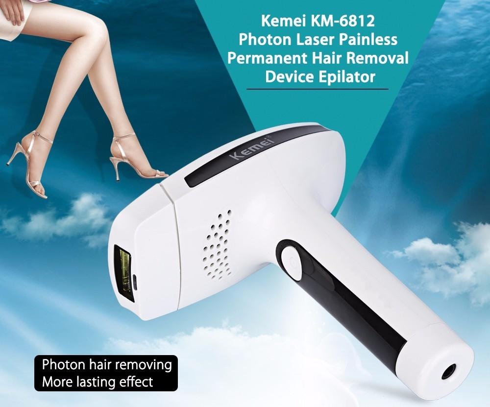 Kemei KM - 6812 Photon Pulsed Light Painless Permanent Hair Remover Epilator