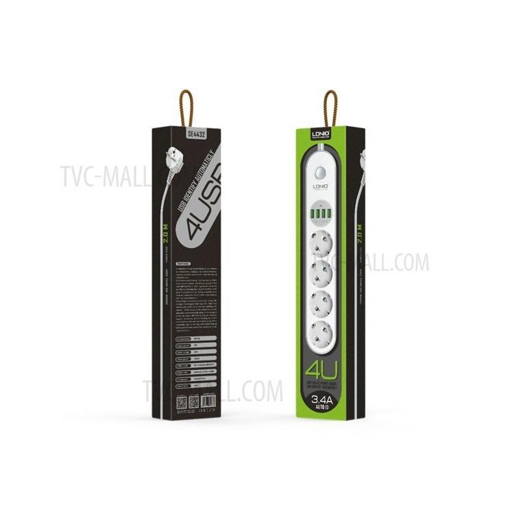 LDNIO SE4432 Power Strip avec 3 prises CA EU + 4 ports USB (CE / RoHS) - Blanc / EU Plug-5