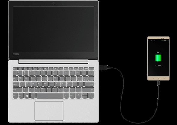 Lenovo Ideapad 120s With Smart Phone Plugged into Side Port