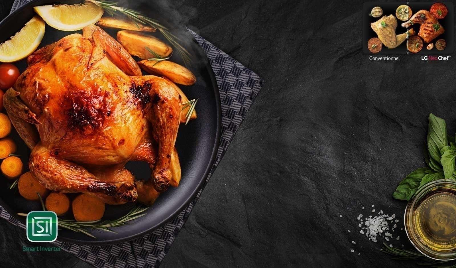 Un plat avec du poulet, des carottes et des pommes de terre