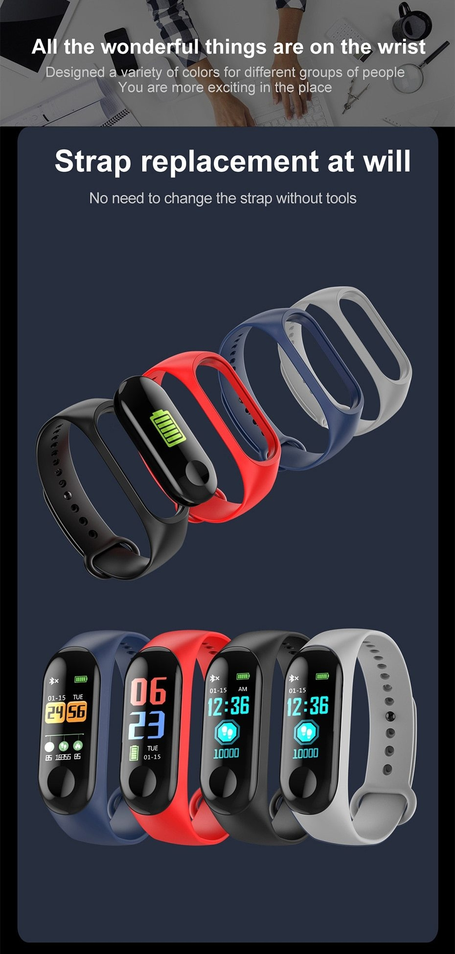 Newest Smart bracelet M3 Sports Blood Pressure Oxygen Heart Rate Monitor Watch Message Caller Smart Band PK For Xiomi mi band 3 (13)
