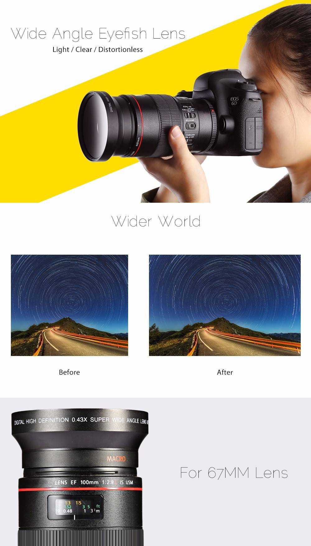 67MM 0.43X HD Wide Angle Eyefish Camera Lens with Two Cap