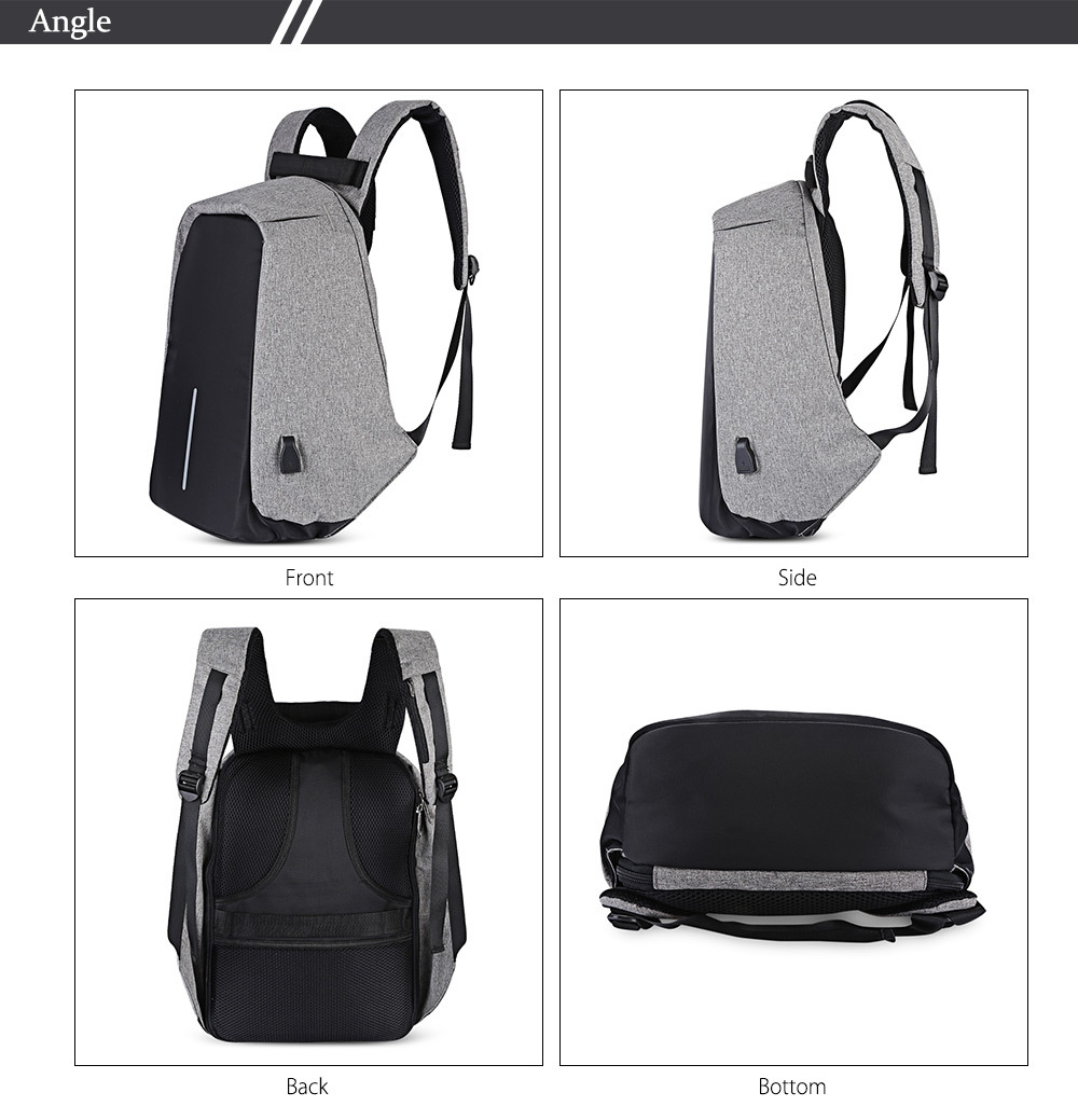 Guapabien Multifunction Outdoor Bag Laptop Travel USB Interface Backpack for Men