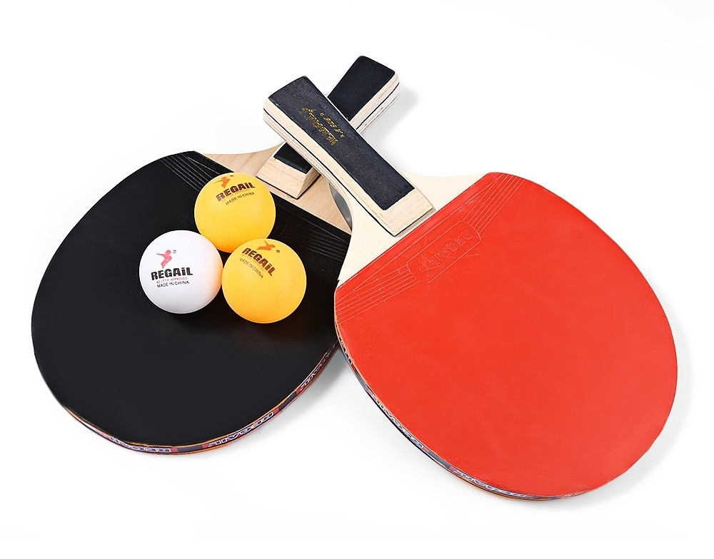 REGAIL A508 Table Tennis Ping Pong Racket Two Long Handle Paddle Bat Three Balls