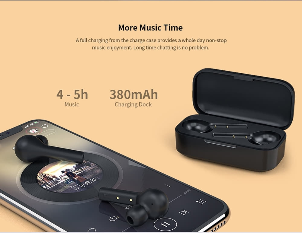 QCY T5 Écouteurs intra-auriculaires sans fil Bluetooth 5.0 Binaural - Noir