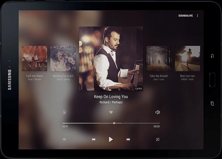 Vue de face du Galaxy Tab S3 montrant un visuel de musique avec une illustration du son provenant de chacun des quatre coins
