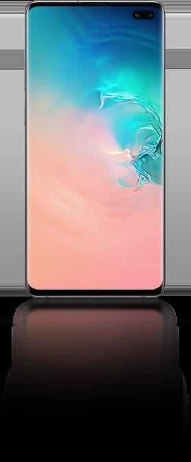 Galaxy S10 plus vu de face avec un graphique abstrait en corail et dégradé bleu.