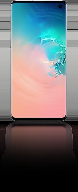Le Galaxy S10 vu de face avec un graphique abstrait en corail et dégradé bleu à l'écran.