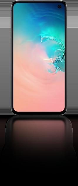 Galaxy S10e vu de face avec un graphique abstrait en corail et dégradé bleu à l'écran.