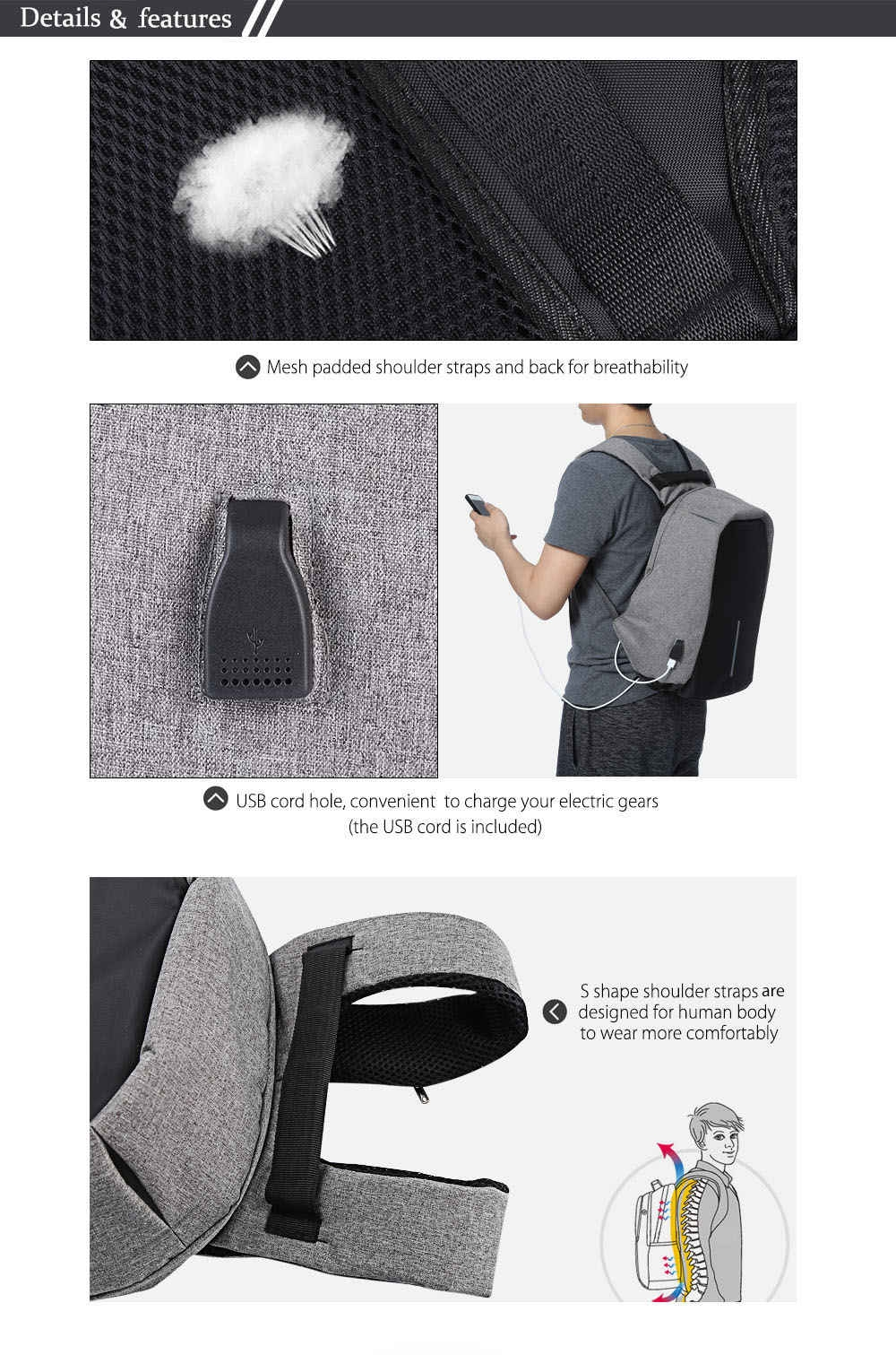 Guapabien Multifunction Outdoor Bag Laptop Travel USB Interface Backpack for Men