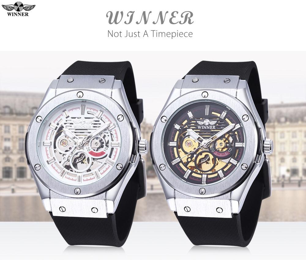 WINNER W2016060202 Male Auto Mechanical Watch Luminous Hollow Back Cover Nail Scale Wristwatch