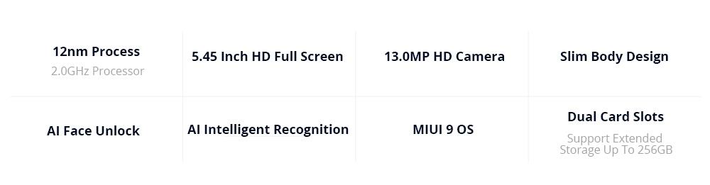 Xiaomi Redmi 6A 5.45 Pouces 4G LTE Smartphone MTK Helio A22 2FR 16GB 13.0MP Caméra MIUI 9 OS 18: 9 Écran AI Face Unlock - Rose
