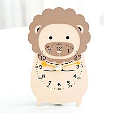 cartoon clock desktop modern minimalist wall clocks pendulum mute kids adults travel bedside decor lovely alarm animal watches(f)