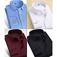 9b4693cdd9767 Lot De 4 Chemises Hommes - Manches Longues - Bleu/Blanc/Noir/Rouge