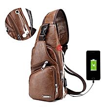 2268b99ac8 Men Outdoor Shoulder Chest Bag Travel Daypack With USB Charging Port