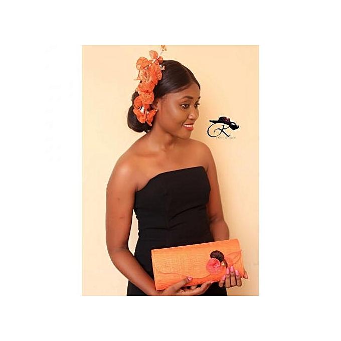 Sans marque Barrette Roschesli Création Et Pochette Ketsia – Orange au Côte d'Ivoire à prix pas cher  | Promotion  Anniversaire