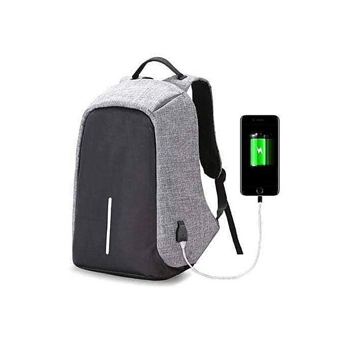 6f6f263d27b7f No brand Sac à Dos Antivol Chargeur USB Gris- Multifonctions - Prix ...