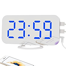 mirror led desk wall clock digital alarm clocks display modern watches nightlight home kitchen office bedroom fashion gift desk(w-blue)