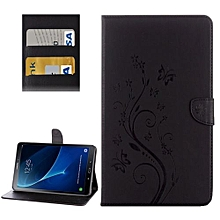 for samsung galaxy tab a 10.1 (2016) / p580 butterflies love flowers embossing horizontal flip leather case with holder and card slots and wallet(black)