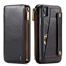 caseme-011 detachable multifunctional horizontal flip leather case for iphone xr, with card slot & holder & zipper wallet & photo frame (black)