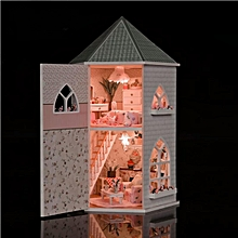 love castle house room diy dollhouse kit with led light wood decoration