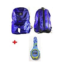 sac à dos / cartable école pour enfant garçon cm/6è - bleu + 1 montre chrono digitale offerte