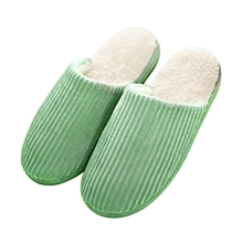 tb super soft anti-skid warm cotton striped slippers plush indoor couple slipper-green